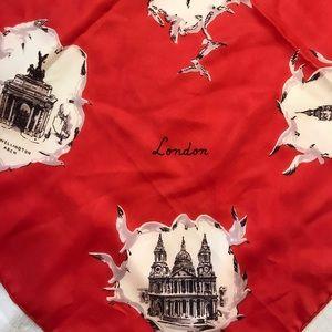 RARE Vintage Roy Thirkell Red Silk Scarf, London